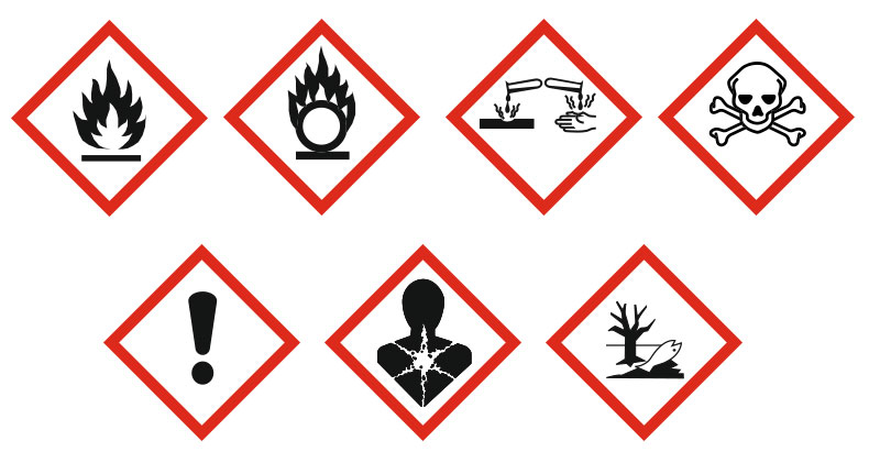 [Translate to en_IE:] The hazardous substance symbols indicate which media may be stored