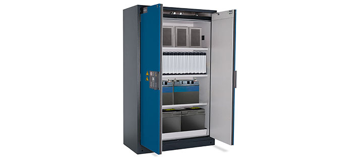 [Translate to en_IE:] Hazardous goods cabinets for lithium-ion batteries